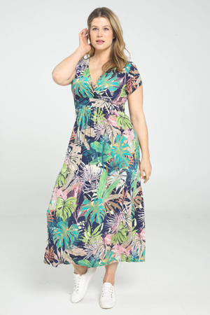 maxi jurk met bladprint en ceintuur groen/blauw/roze