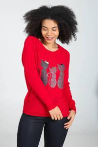Cassis trui met printopdruk rood, Rood