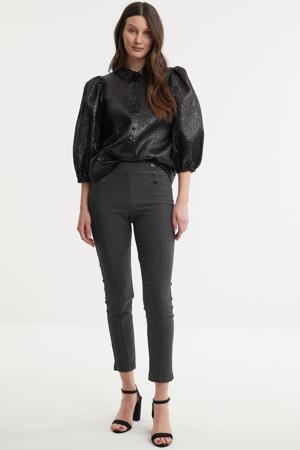 high waist slim fit broek met all over print grijs/zwart