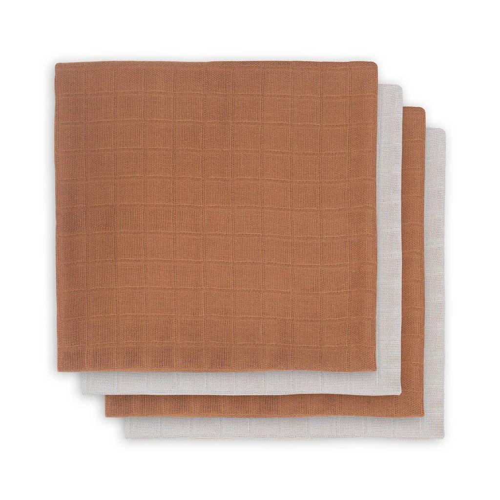 Jollein bamboe multidoek small - set van 4 70x70 cm caramelwit, Caramel/Wit