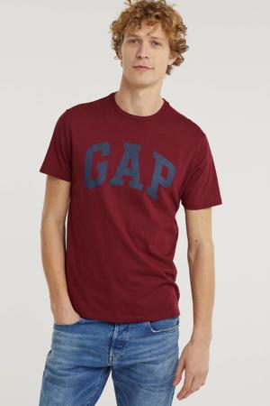 T-shirt met logo donkerrood