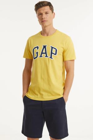 T-shirt BAS ARCH T met logo lichtgeel