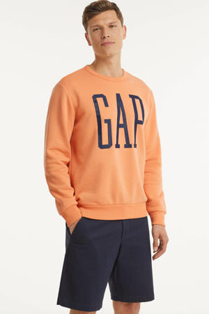 sweater met logo licht oranje