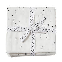 Done by Deer hydrofiele wikkeldekens 120x120 Dreamy dots (set van 2) Black/White, Black/white