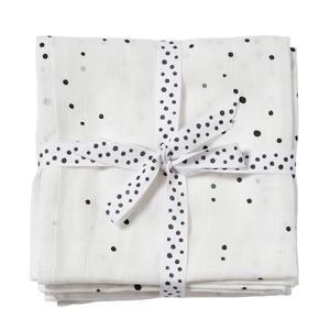 hydrofiele wikkeldekens 120x120 Dreamy dots (set van 2) Black/White