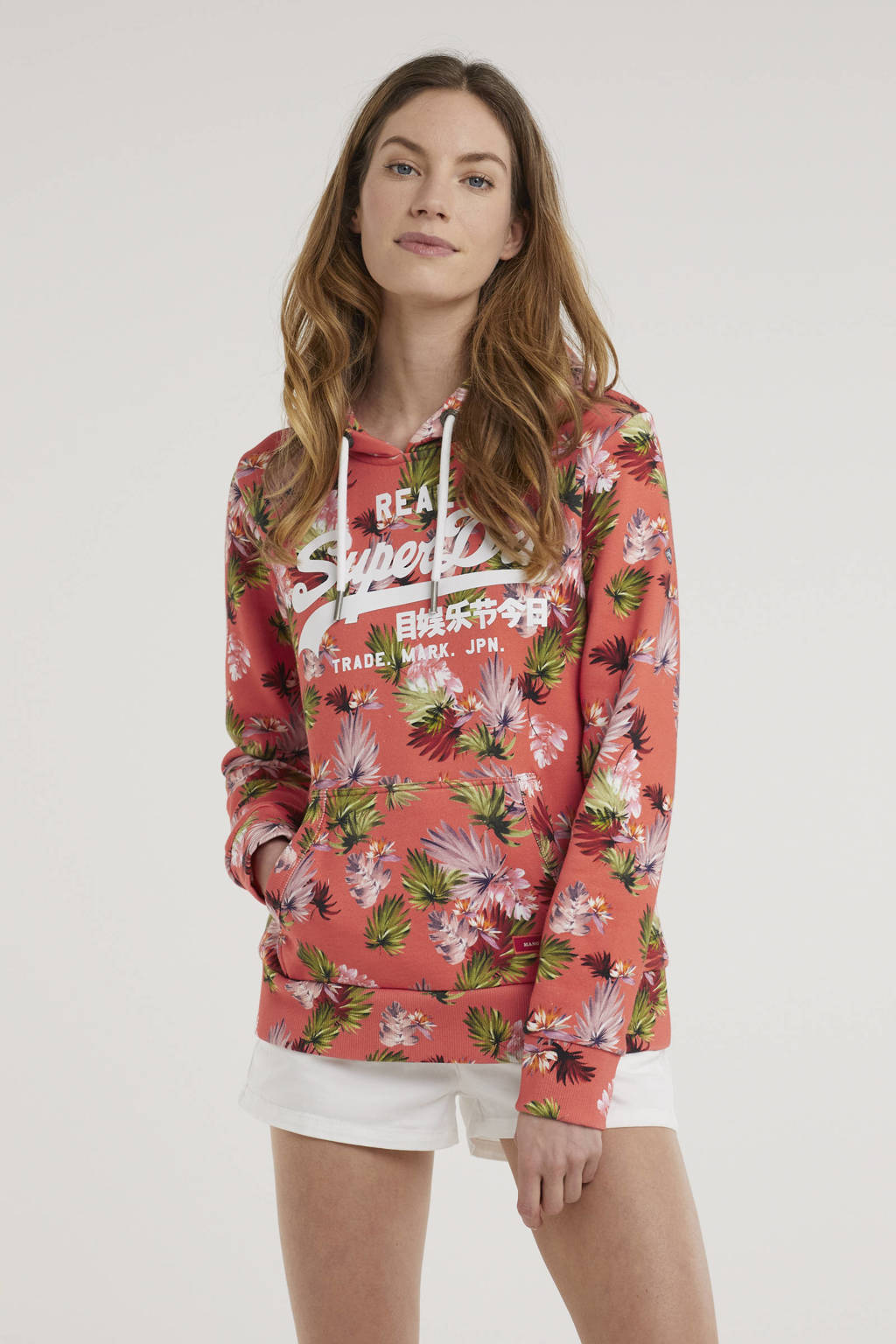 Superdry trui met all over print brushed pink palm, Brushed Pink Palm