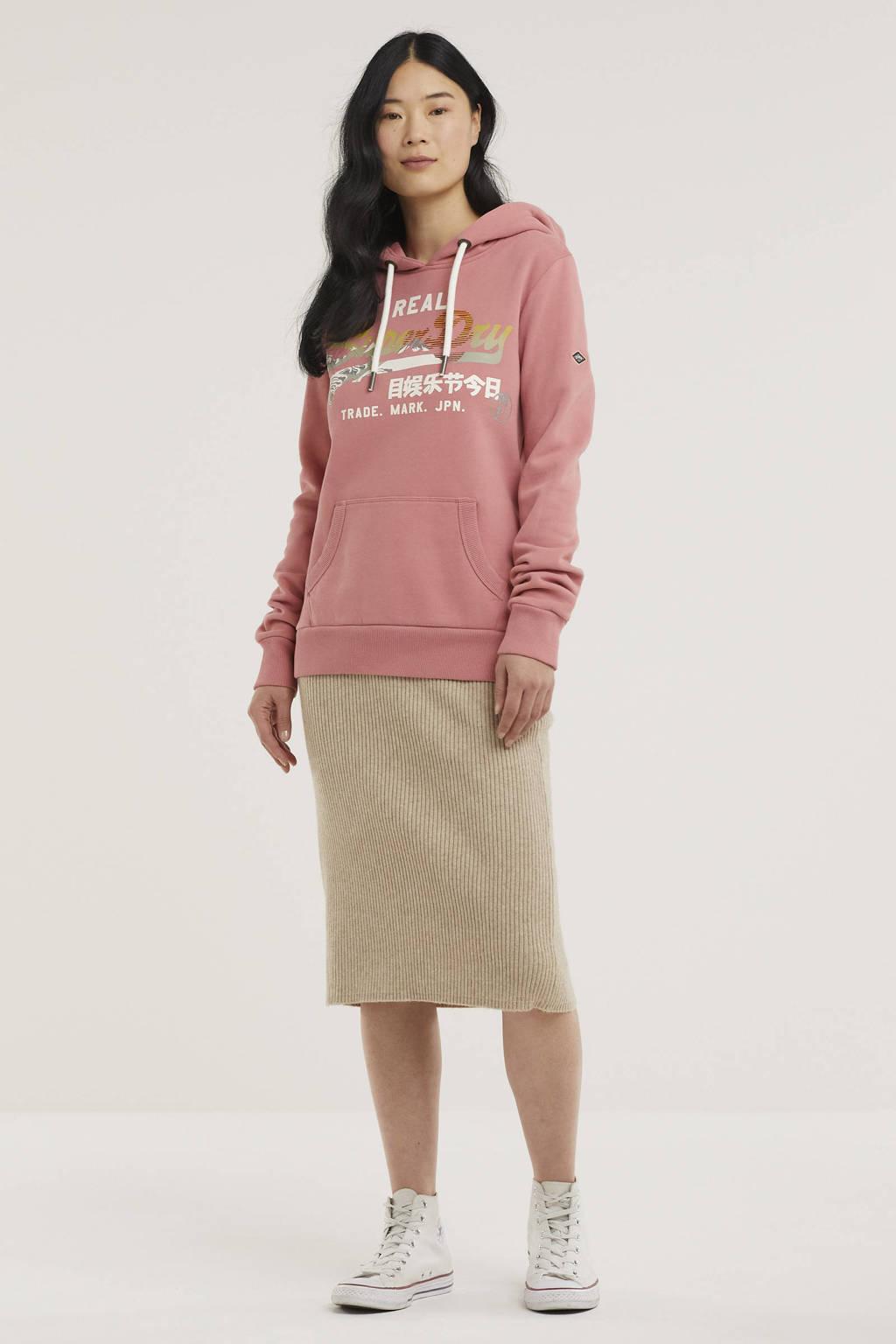 Superdry hoodie met printopdruk dusty rose, Dusty Rose