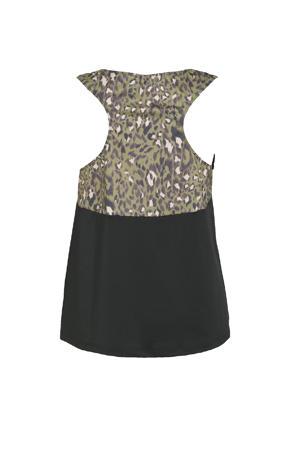 Plus Size sporttop zwart/groen/paars