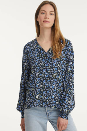 gebloemde blouse BYMMJOELLA VNECK BLOUSE - blauw
