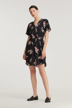 gebloemde A-lijn jurk BYMMJOELLA SS zwart/roze