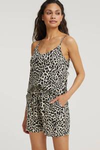 B.Young high waist straight fit short BYMMJOELLA SHORTS - met dierenprint beige/zwart, Beige/zwart