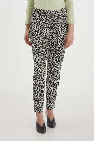 tapered fit broek BYMMJOELLA met all over print beige/zwart