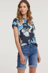 B.Young gebloemd T-shirt donkerblauw, Donkerblauw