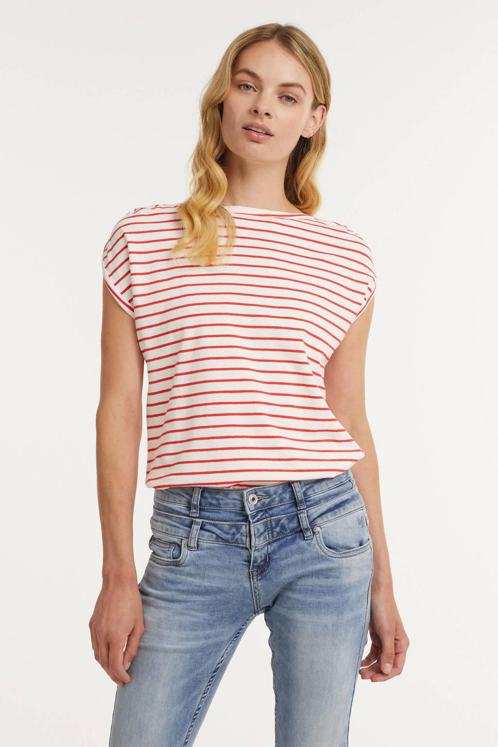 B.Young gestreept T-shirt BYPANDINA met biologisch katoen wit/rood, Wit/rood