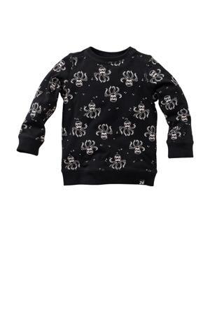 sweater Hollyhock met all over print zwart.wit