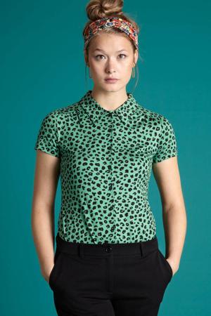 blouse Bobcat met dierenprint groen/zwart