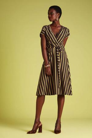 A-lijn jurk Gonzalez  met all over print en ceintuur blauw/geel
