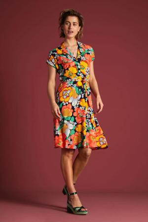 A-lijn jurk Sunbeam met all over print en ceintuur blauw/oranje/rood