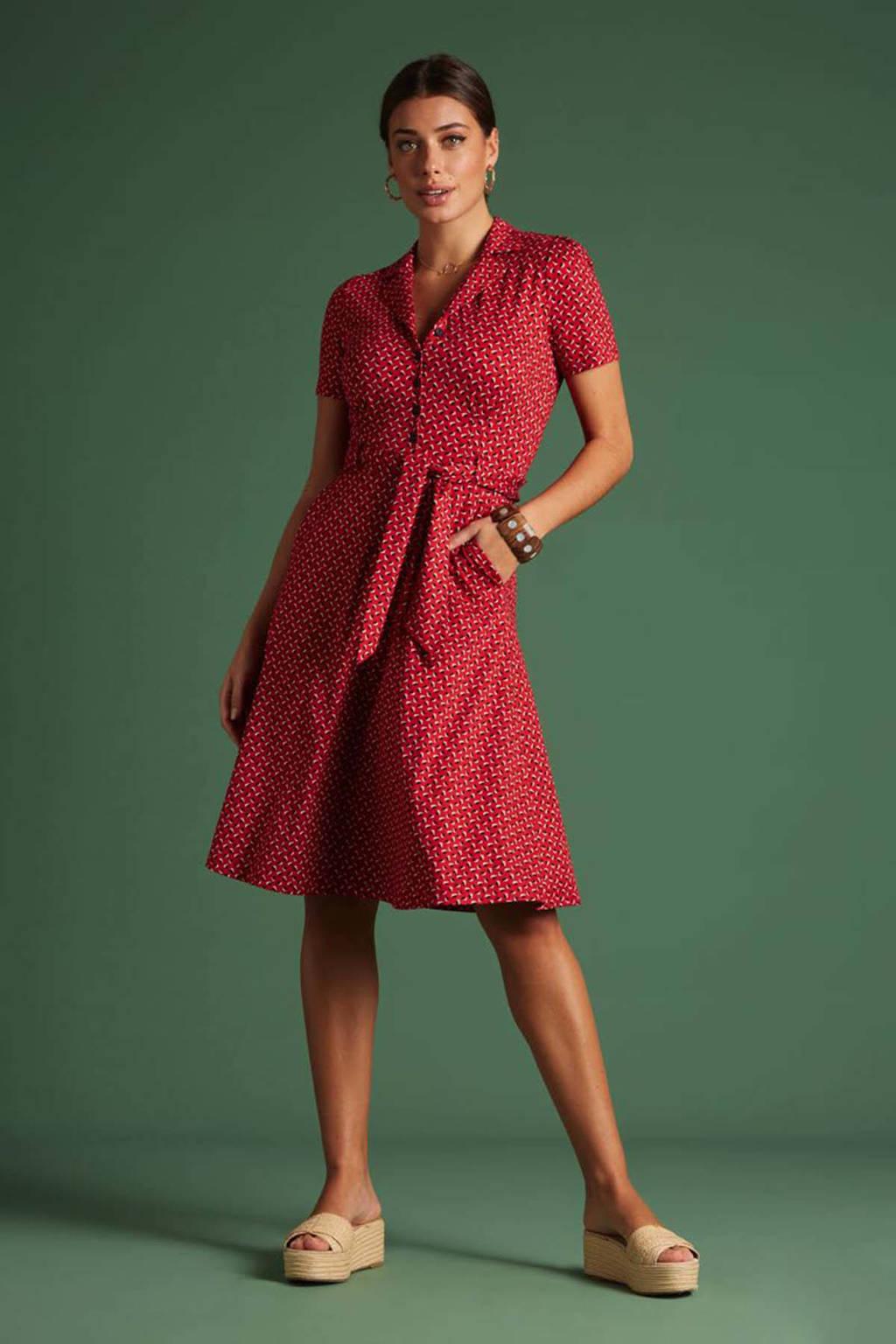 King Louie A-lijn jurk Rancho met all over print en ceintuur rood, Rood
