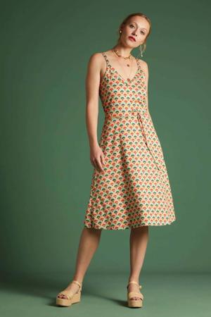 A-lijn jurk Carmel met all over print en ceintuur multicolor