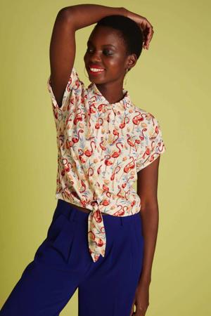 blouse Sonny met all over print ecru/rood