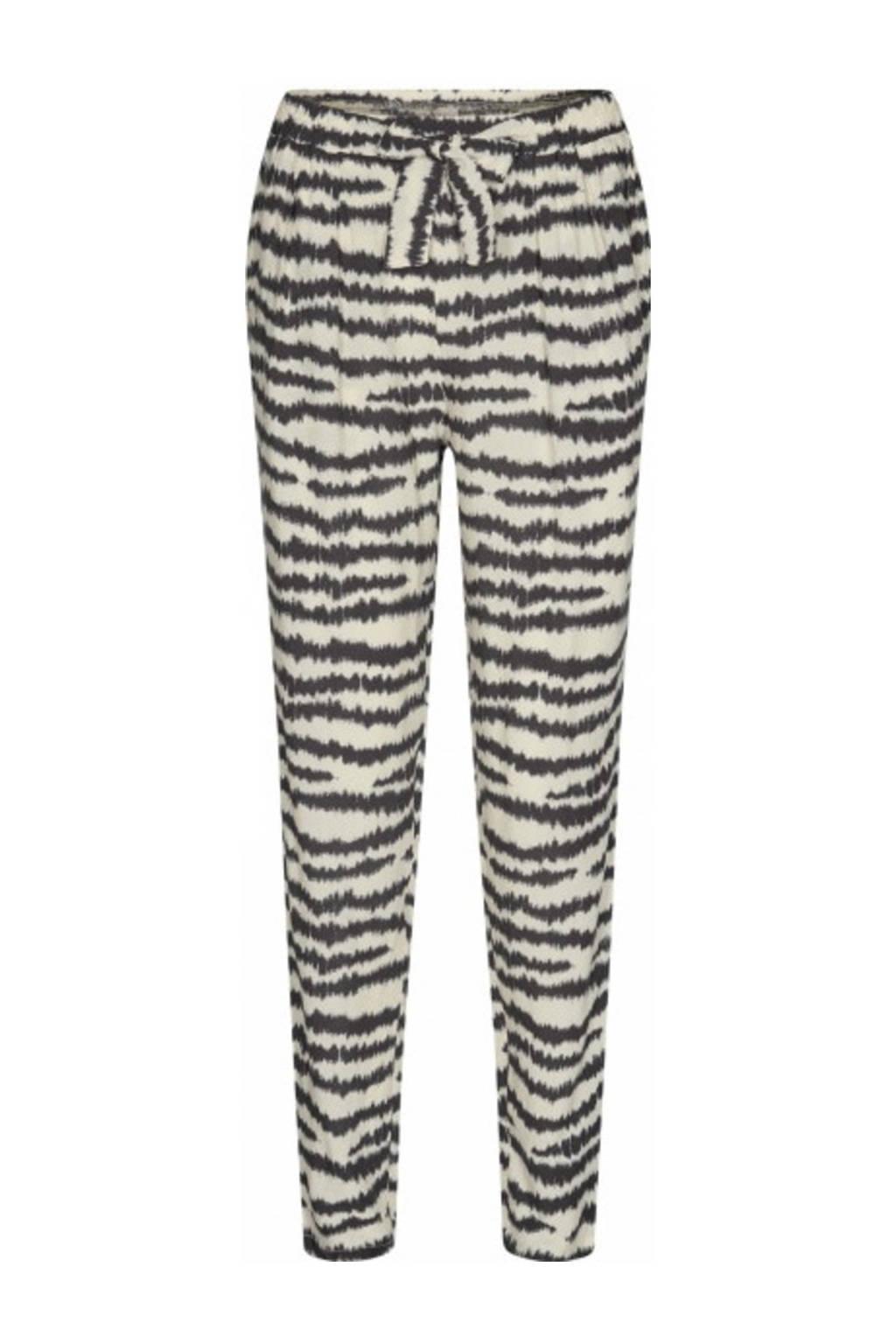 Soyaconcept slim fit broek Pia met all over print beige/zwart, Beige/zwart