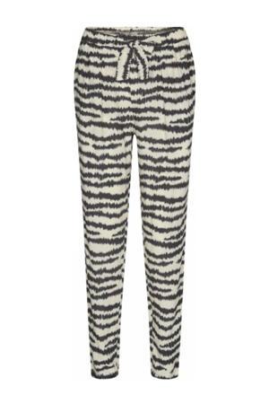 slim fit broek Pia met all over print beige/zwart
