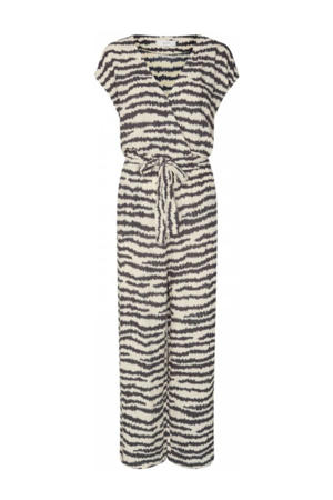 jumpsuit Pia met all over print beige/zwart