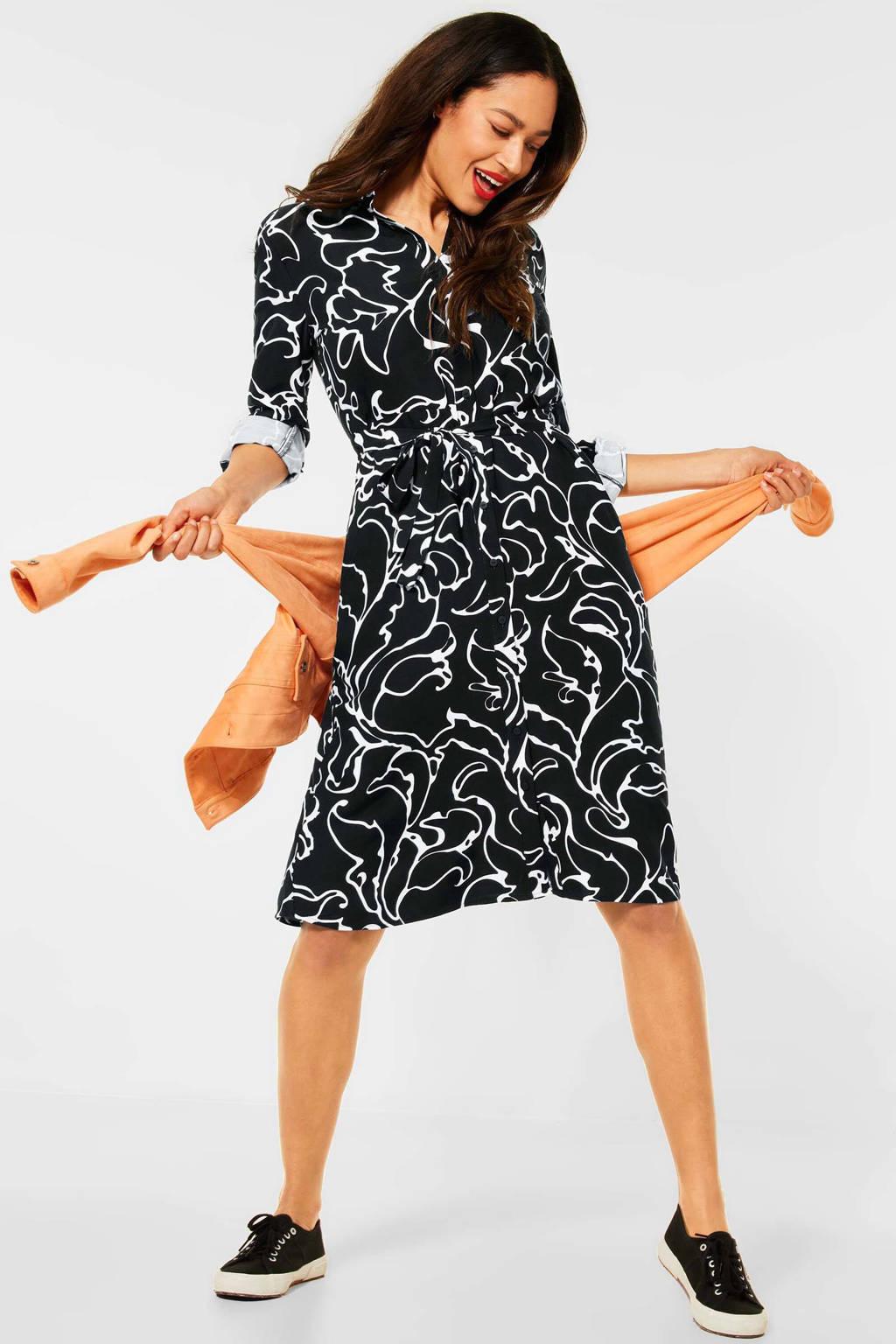 Street One blousejurk met all over print en ceintuur zwart/wit, Zwart/wit