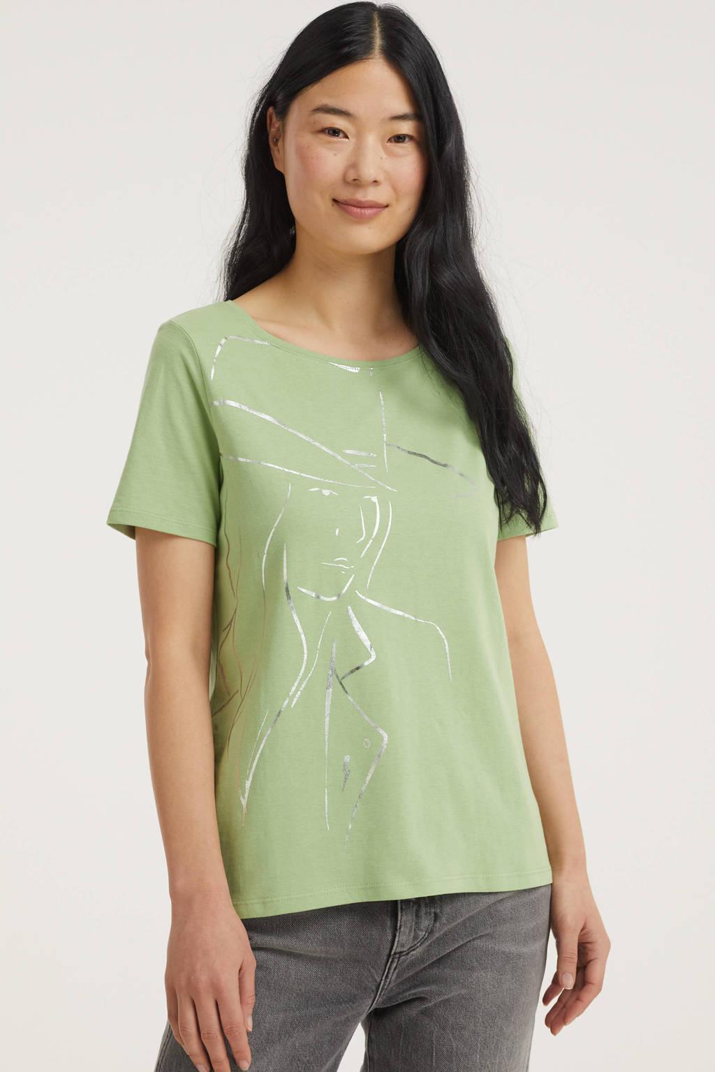 Street One T-shirt met printopdruk lichtgroen, Lichtgroen