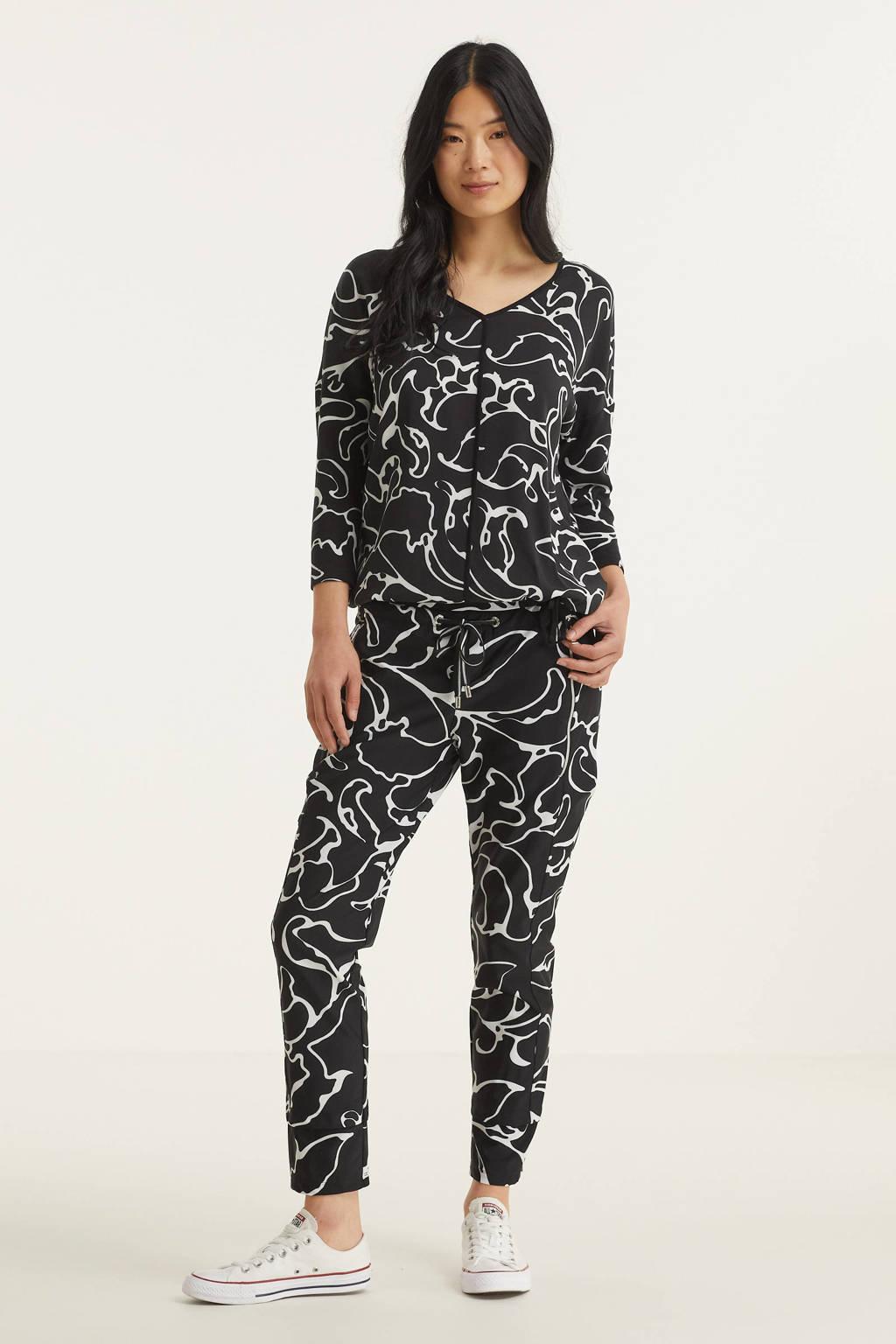 Street One slim fit broek met all over print zwart/wit, Zwart/wit