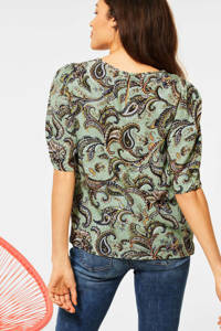 Street One top met all over print greon, Greon