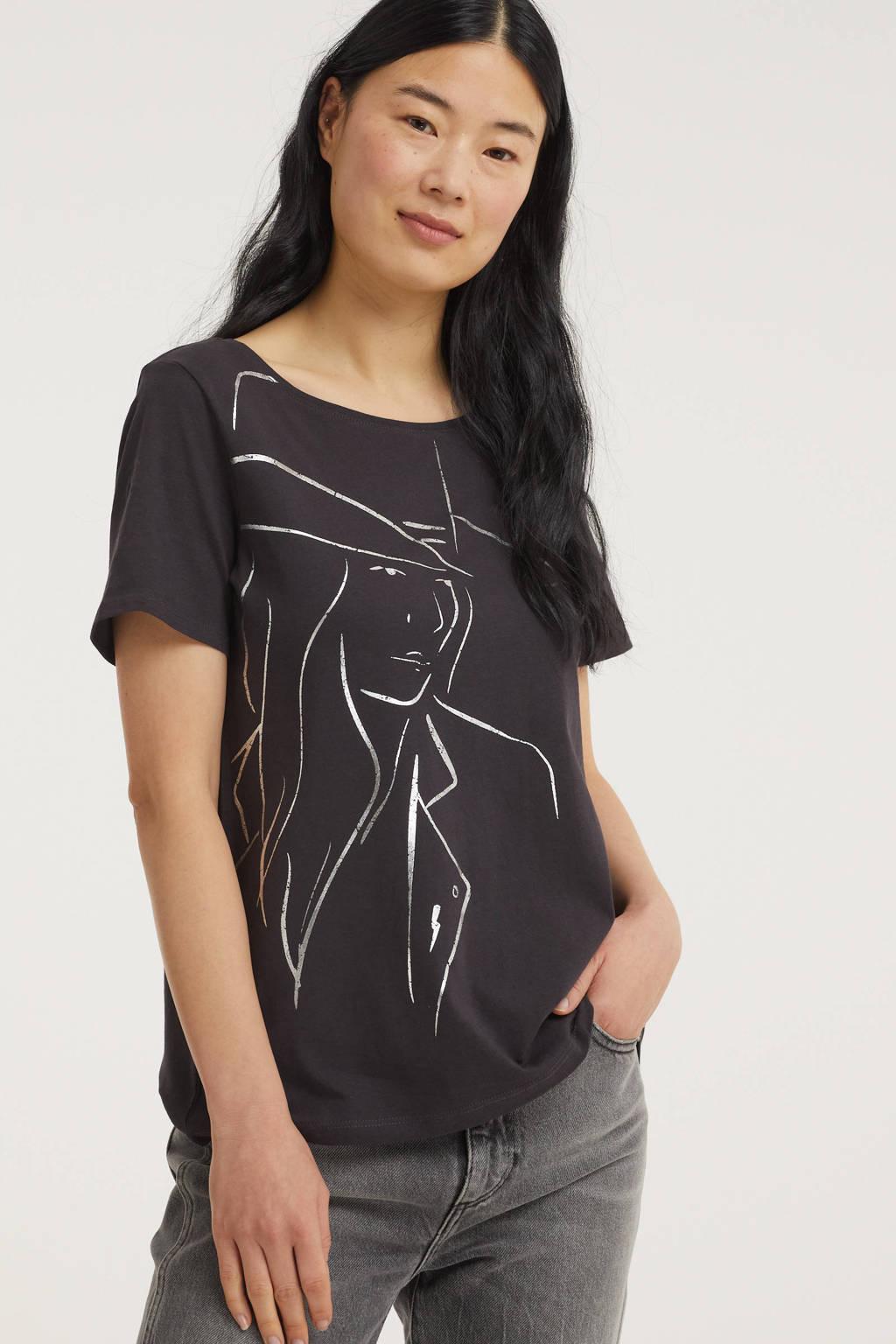 Street One T-shirt met printopdruk zwart/wit, Zwart/wit