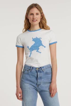 T-shirt 2698 Emma 6425 Indigo Bull met contrastbies wit/blauw