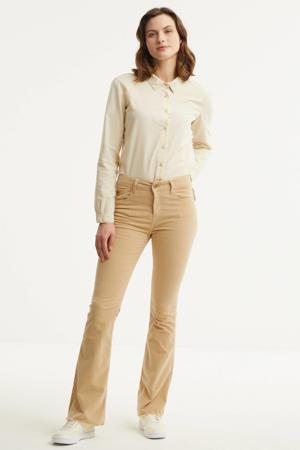 high waist flared broek 2384 Raval Edge 6373 Micro Fade beige sand