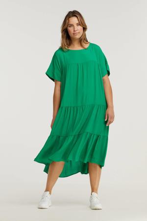 trapeze jurk met volant groen