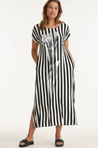 Mat Fashion gestreepte jurk zwart/wit/zilver, Zwart/wit/zilver