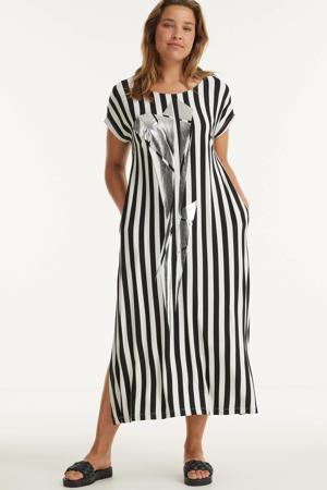 gestreepte jurk zwart/wit/zilver