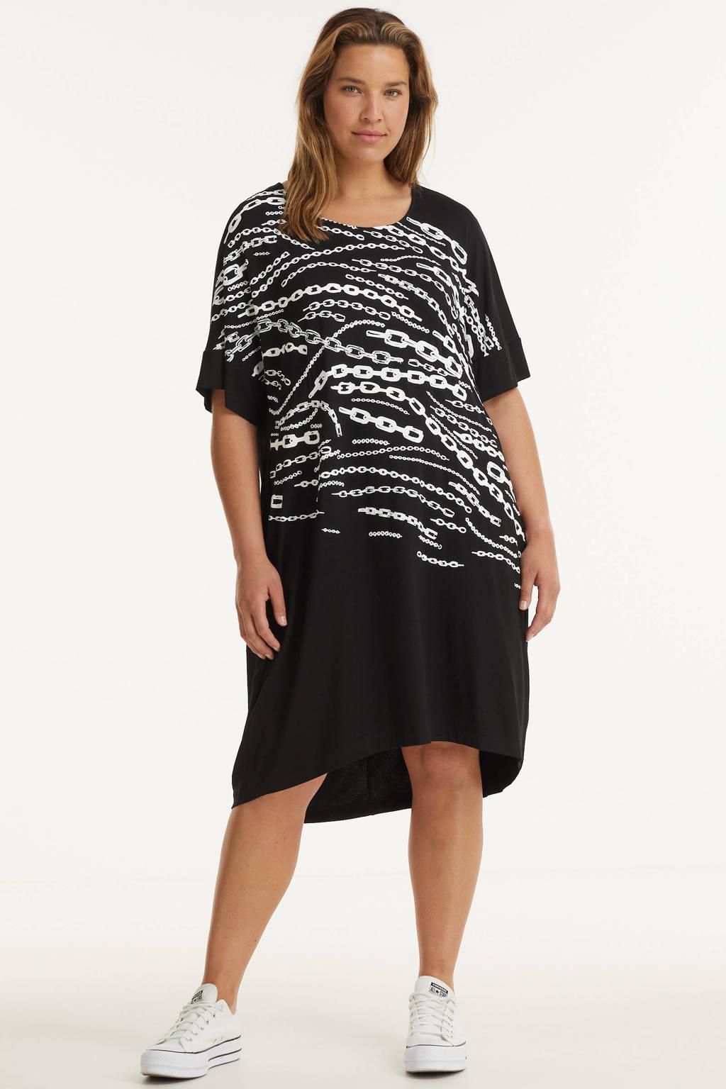 Mat Fashion jurk met printopdruk zwart/wit, Zwart/wit