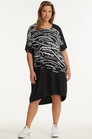 jurk met printopdruk zwart/wit