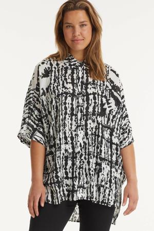 tuniek met all over print en vleermuismouwen zwart/wit