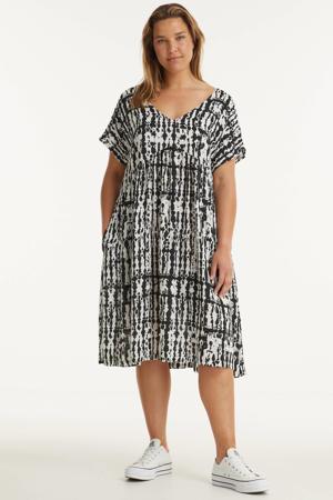 A-lijn jurk met all over print wit/zwart