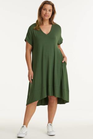 jurk met plooien donkergroen