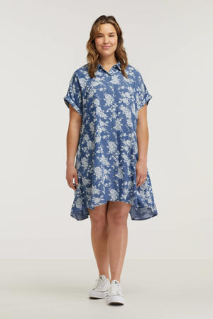 gebloemde blousejurk blauw/wit