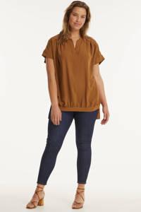 Mat Fashion top met plooien roodbruin, Roodbruin