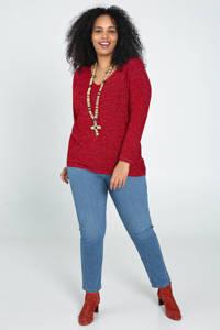Paprika gebreide trui met glitters rood, Rood