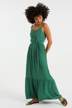 maxi jurk met volant groen