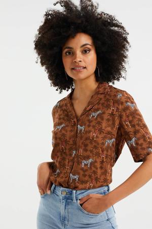 blouse met dierenprint bruin