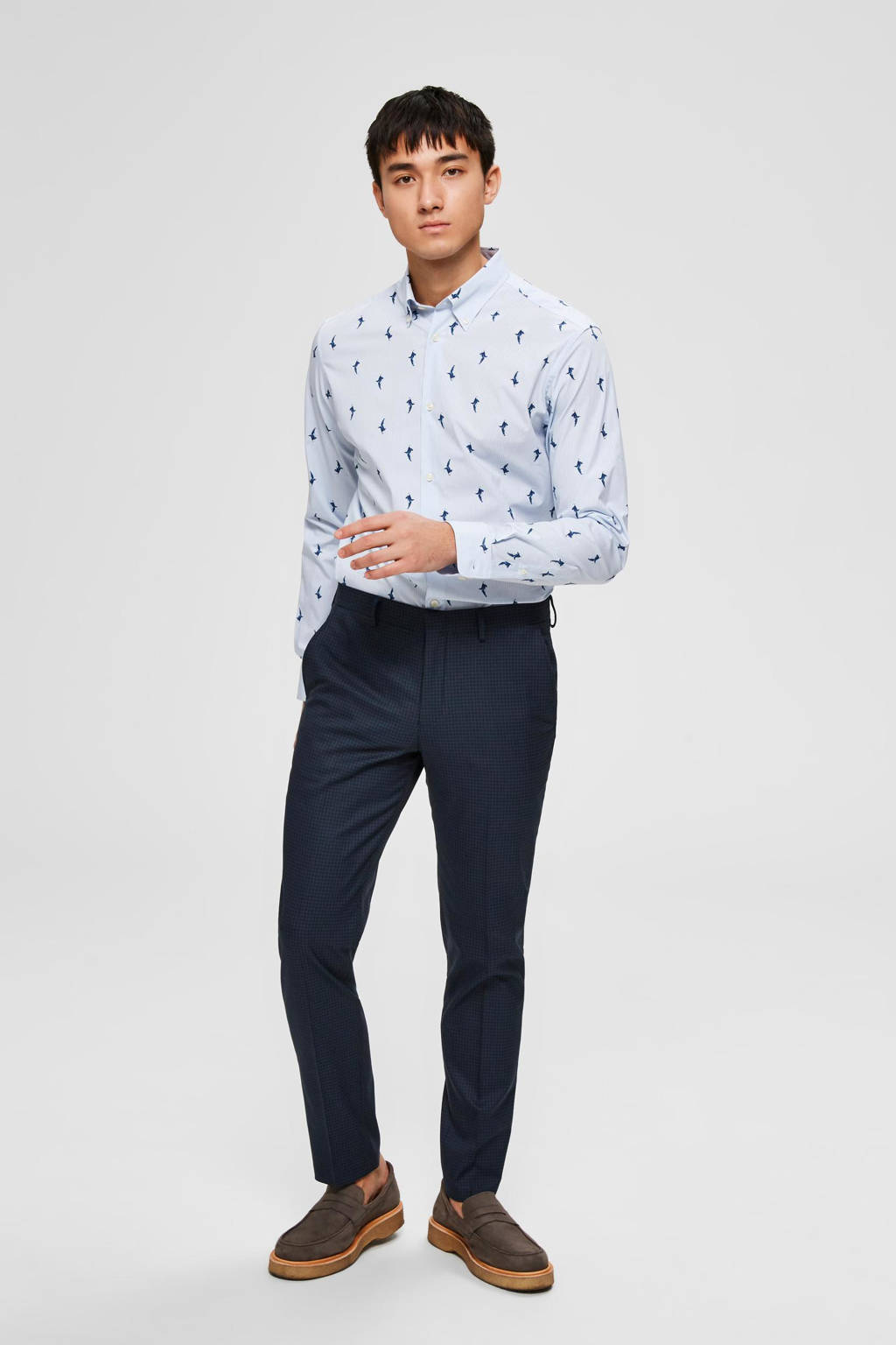 SELECTED HOMME slim fit overhemd Rex-Wayne met all over print lichtblauw, Lichtblauw