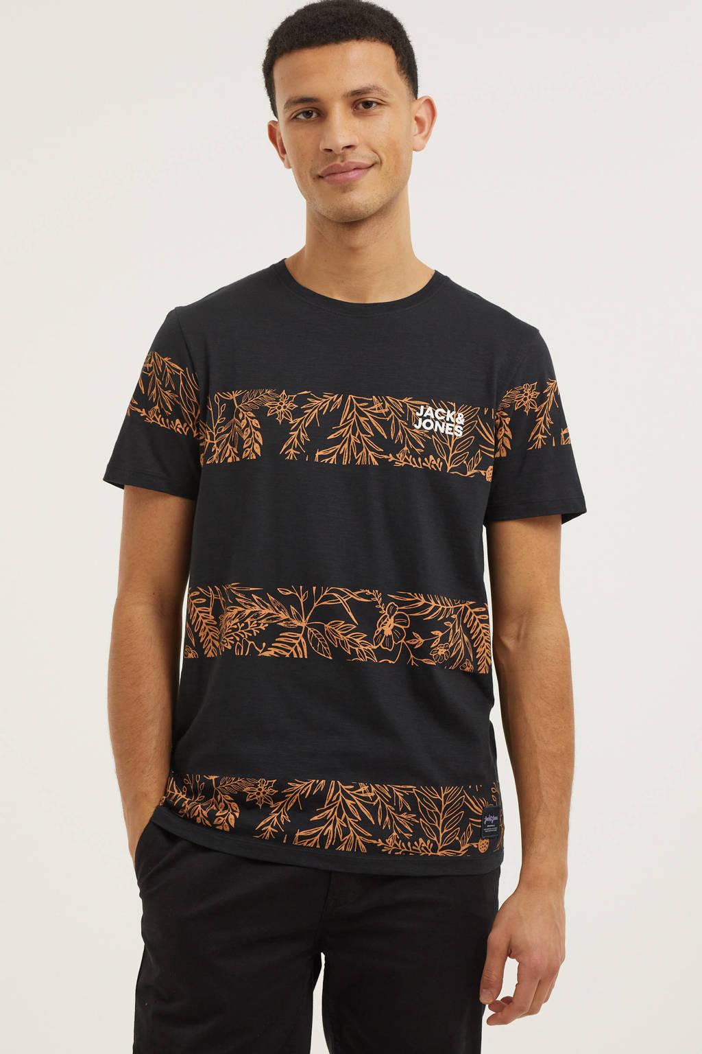 JACK & JONES ORIGINALS gestreept T-shirt Tuesday zwart/oranje, Zwart/oranje